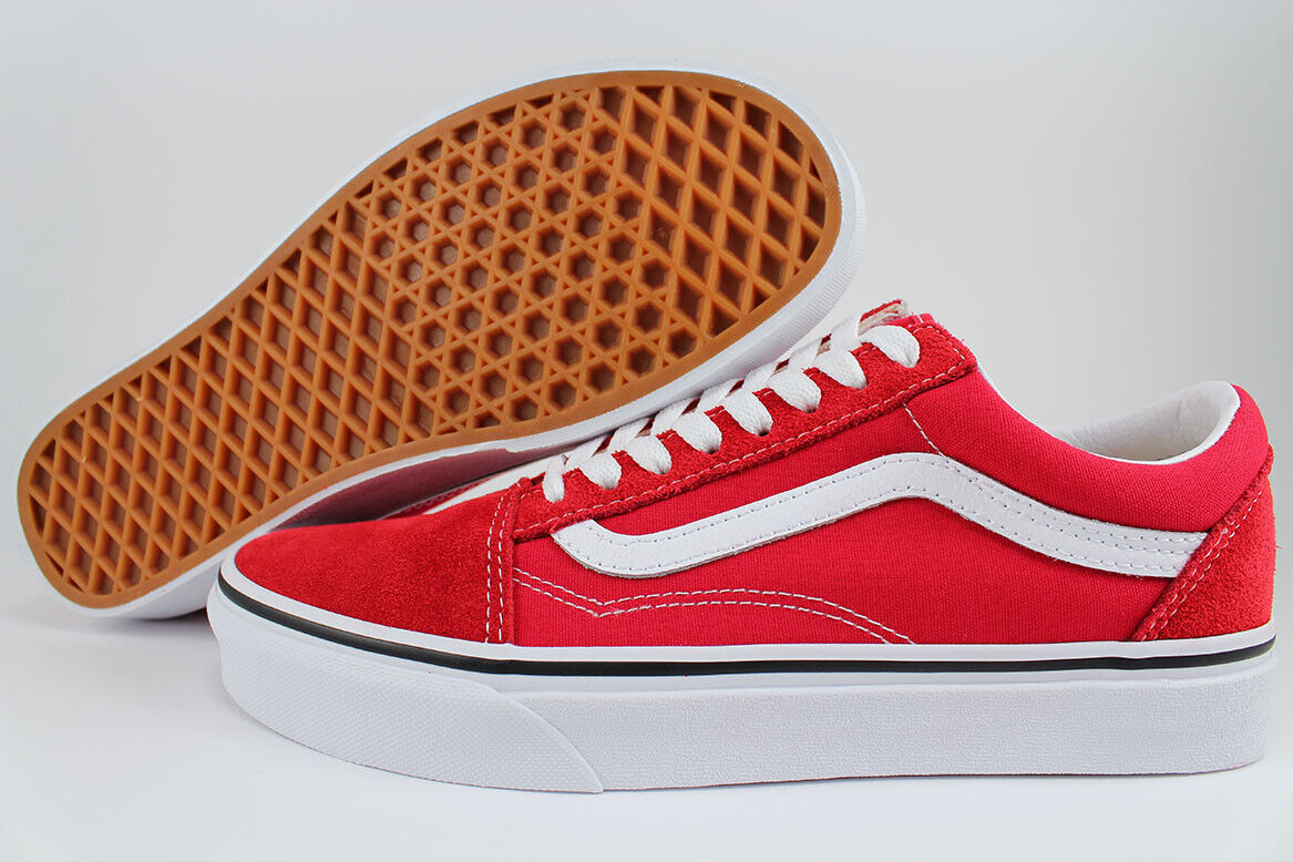 VANS OLD SKOOL RACING REDTRUE WHITEBLACK CANVAS SUEDE SKATE US MEN WOMEN SIZES