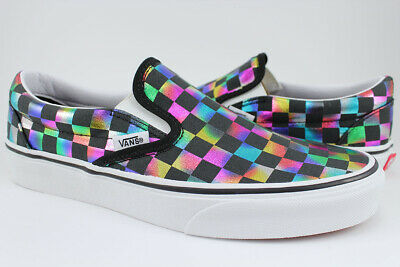 Black Classic Slip On - Vans Classic Slip-On - Iridescent Sparkle Checkerboard - Black/Rainbow - Women