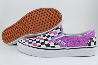 VANS CLASSIC SLIP-ON GLITTER CHECKERBOARD FAIRY WREN PURPLE CHECK CHECKER WOMENS - Fairies Shoes