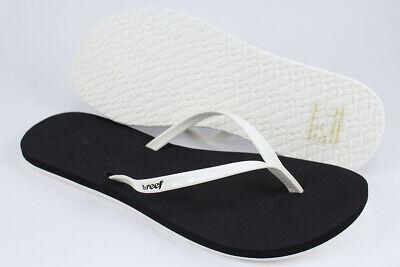 REEF BLISS WHITE/BLACK SKINNY STRAP FLIP FLOPS THONG SANDALS BEACH US WOMEN (Reef Womens Flip Flops)
