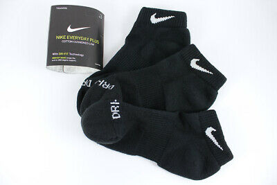 - NIKE DRI-FIT PLUS CUSHION LOW CUT SOCKS 3-PAIR BLACK TRAINING MEN SHOE SIZE 6-15