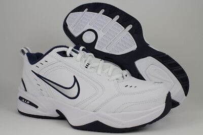 NIKE AIR MONARCH IV 4 EXTRA WIDE 4E EEEE WHITE/SILVER/NAVY BLUE TRAINER MEN - Monarch Blue