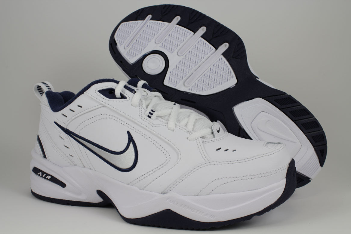 NIKE AIR MONARCH IV 4 EXTRA WIDE 4E EEEE WHITESILVERNAVY BLUE TRAINER MEN SIZE