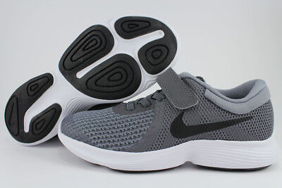 NIKE REVOLUTION 4 PSV DARK GRAY/BLACK V STRAP SLIP-ON BOYS GIRLS KIDS YOUTH SIZE - Dark Black Teens