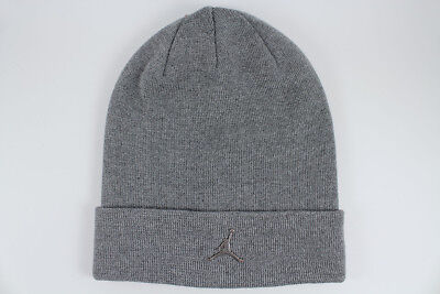 a02417b689a0d NIKE JORDAN BEANIE GRAY SILVER METAL JUMPMAN DRI-FIT CUFF HAT CAP ADULT MEN
