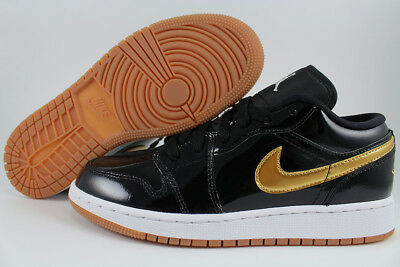 Nike Jordan Girl - NIKE AIR JORDAN 1 LOW BLACK/METALLIC GOLD/GUM PATENT LEATHER WOMEN GIRL YOUTH SZ