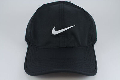 NIKE FEATHER LIGHT DRI-FIT ADJUSTABLE CAP HAT BLACK/WHITE TRAINING SWOOSH MEN