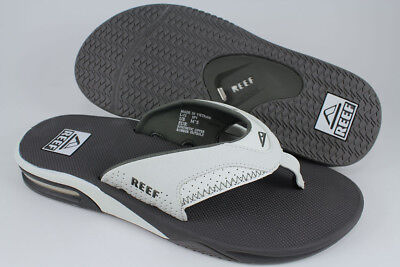 REEF FANNING GRAY/WHITE FLIP FLOPS THONG SANDALS BEACH MICK GREY US MEN SIZES