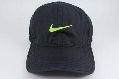 NIKE FEATHER LIGHT DRI-FIT ADJUSTABLE CAP HAT BLACK VOLT TRAINING SWOOSH MEN 9664f89c521c