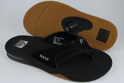 REEF FANNING BLACK/SILVER/GUM FLIP FLOPS THONG SANDALS BEACH MICK US MENS SIZES