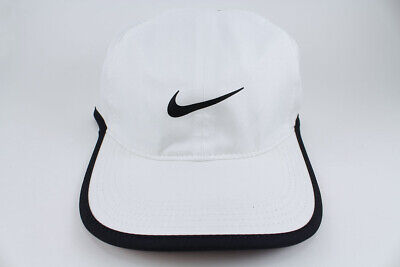 NIKE FEATHER LIGHT DRI-FIT ADJUSTABLE CAP HAT WHITE/BLACK TRAINING SWOOSH NEW