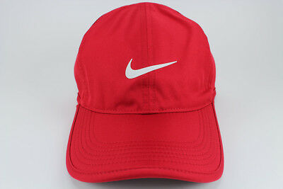 NIKE FEATHER LIGHT DRI-FIT ADJUST CAP HAT GYM RED/WHITE TRAINING SWOOSH NEW MENS