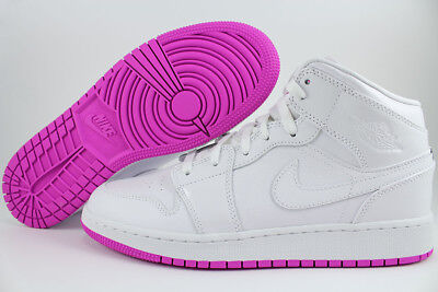 Nike Jordan Girl - NIKE AIR JORDAN 1 MID HI HIGH WHITE/FUCHSIA PINK PURPLE WOMEN GIRL US YOUTH SIZE