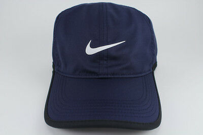 NIKE FEATHER LIGHT DRI-FIT ADJUST CAP HAT BLUE/WHITE/BLACK TRAINING SWOOSH MEN