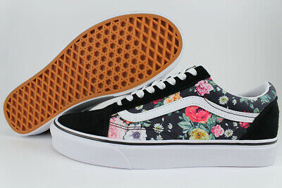 VANS OLD SKOOL GARDEN FLORAL BLACK/WHITE/PINK/RED/GREEN ROSES FLOWERS WOMEN SIZE](Old Olds)