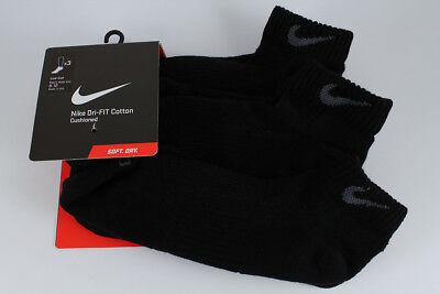 NIKE DRI-FIT HALF CUSHION LOW CUT SOCKS 3-PACK BLACK/GRAY US MENS SHOE SIZE (Cushion Low Sock)