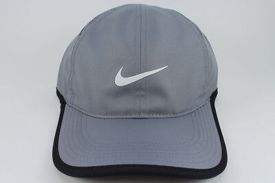NIKE FEATHER LIGHT DRI-FIT ADJUST CAP HAT GRAY/WHITE/BLACK TRAINING SWOOSH MEN