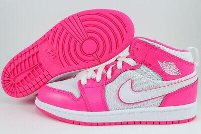 NIKE AIR JORDAN 1 MID PS HYPER PINK/WHITE HOT RETRO HIGH HI GIRLS KIDS YOUTH (Nike Air Girls)