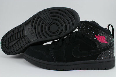 Nike Jordan Girl - NIKE AIR JORDAN 1 MID BLACK/RUSH PINK/WHITE RETRO HIGH HI GIRLS KIDS YOUTH SIZES