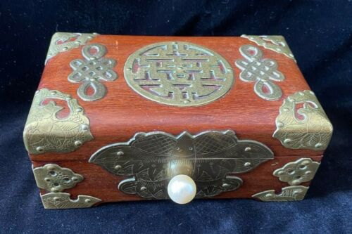 Vintage Wooden Chinese Jewelry Box with Brass Binding and Decor