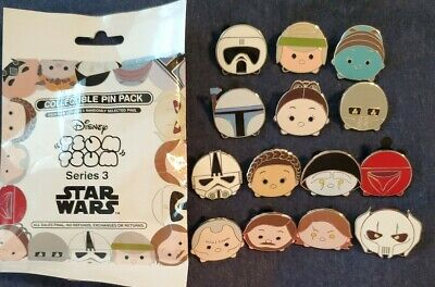 Disney 2017 Star Wars Series 3 Tsum Tsum Mystery Bag 14 Pin Set Obi Wan Anakin++