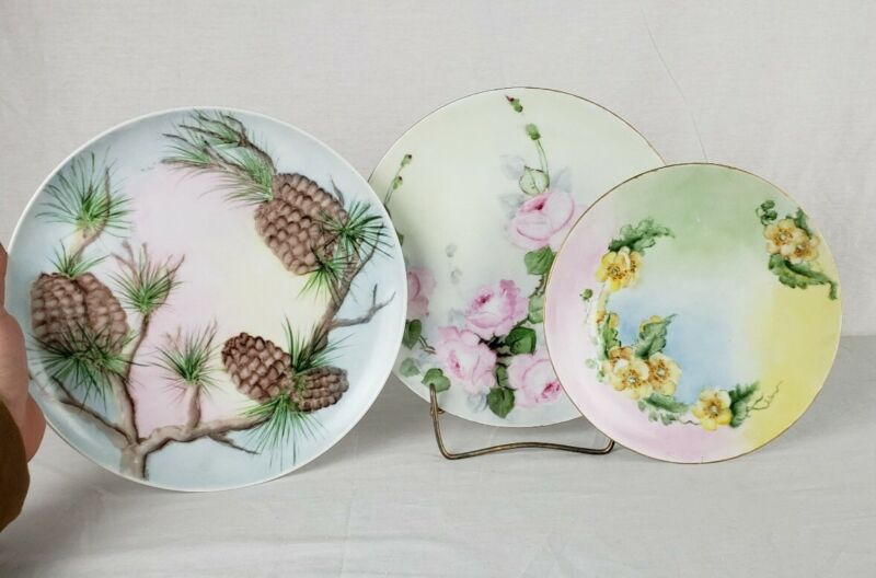 Handpainted Porcelain Plates Set Of 3