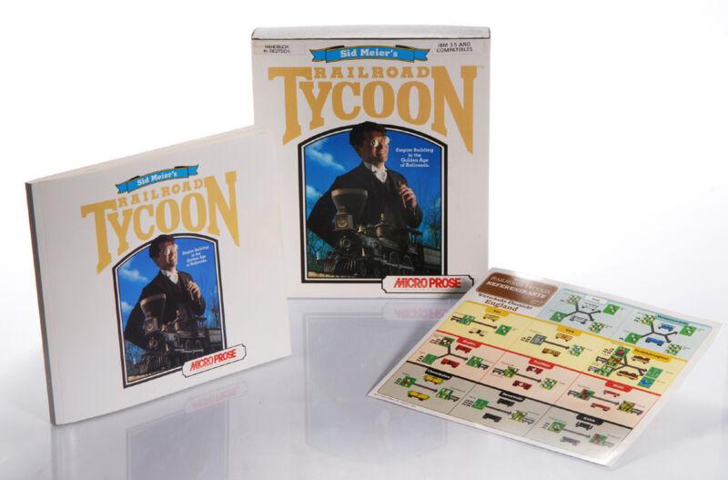 """Bunte Referenzkarte, fettes Manual und große Box veredeln der 1990-Originalausgabe von """"Railroad Tycoon"""". (© Gameplan)"""