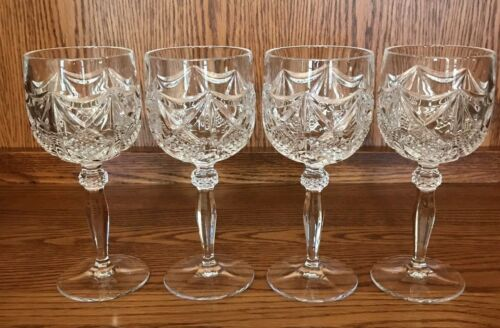 Set of 4 Vintage Cross Cut Crystal Wine Goblets Glasses