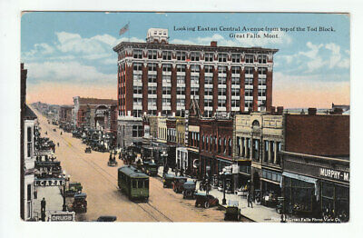 Central Avenue From Top Of Tod Block Great Falls Montana E Morris Old Postcard
