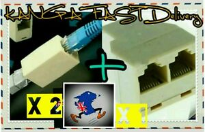 Ethernet RJ45 Connection Pack 1X Splitter +2pcs Joiner Double Adapter Cat5 Cable