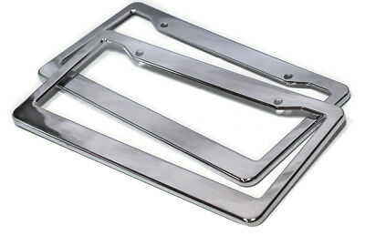 2pc OxGord Chrome HD Plastic License Plate Frame Tag Cover Car SUV Van Truck -B