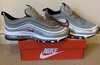 Mens Nike Air Max 97 - Silver, White and Red - Size 9