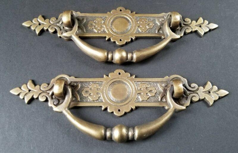 "2 Vtg Antique Style Ornate Victorian Brass Drawer Handles Pulls 5-1/4""wide #H44"