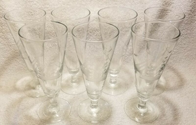 Set of 7 Nautical Etched Footed Pilsner Glasses