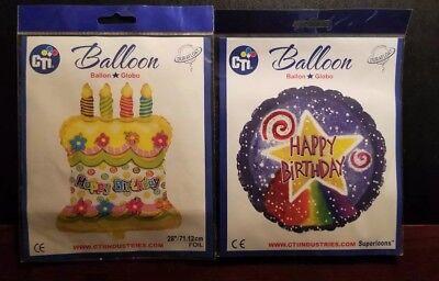 """(2) 17"""" & 28 """"Happy Birthday Glitz Cake Shape - Star Round Foil Mylar Balloons"""