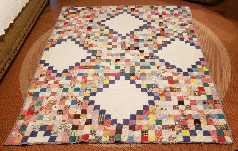 Vtg QUILT handmade Full Size Calico Patch ConditionDebatable Crafters Treasure