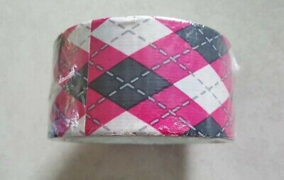 Printed Duct Tape Argyll Pink Grey White Rare 1.88 Inch 10 Yards