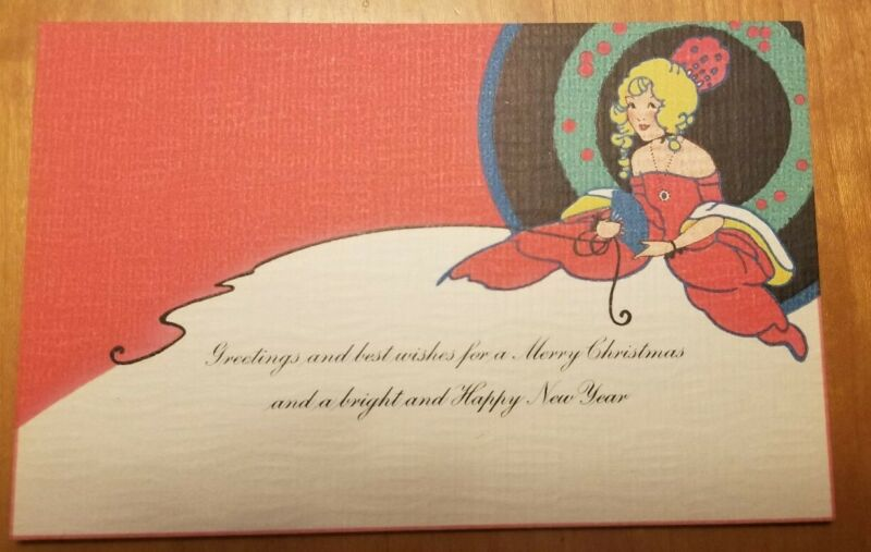 Vintage Antique Merry CHRISTMAS AND happy NEW YEAR To My Daughter Greeting Card