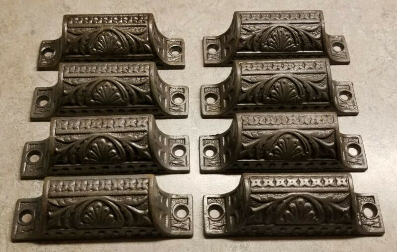 """8 Antique Matching Cast Iron Embossed Ornate Drawer Pulls 3.25"""" Handles CLEANED"""