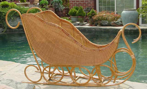 "RARE! VINTAGE CHRISTMAS DISPLAY ANTIQUE STYLE 76""x 43""  BENTWOOD WICKER SLEIGH"