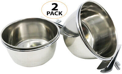 3127 Pk2 Stainless Steel 10 oz Cage Coop Clamp Bolt Cup Bird Dog Food Water Bowl