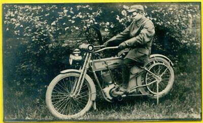 RPPC Rare 1910 Harley Davidson Motorcycle/Cycle Owner Wearing Goggles