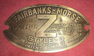 1 12 H.p. Brass Tag Fairbanks Morse Zd Hit Miss Engine Tractor Auto Antique