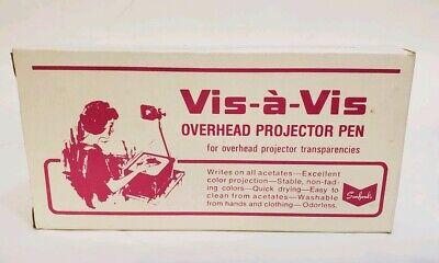 Vintage Sanford Vis-a-vis Overhead Projector Pen 12 Yellow Pens Fine Point