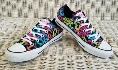 CONVERSE CT ALL STAR CANVAS SNEAKER Wo's Size 6 BLACK with MULTI-COLOR GRAPHICS