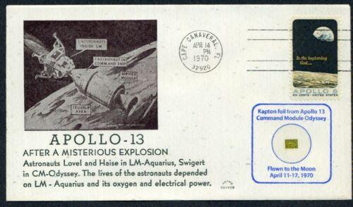 Apollo 13 Cacheted Explosion Envelope w/ Kapton Foil Flown Around the Moon - COA