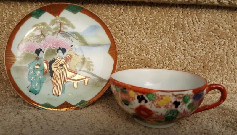 Japanese Geisha hand painted china cup & signed saucer, vintage gold, red, multi