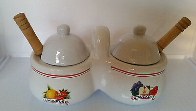 Smuckers Jelly Jam Serving Set With Spoons Jm Smucker Co  Collectible Or Useable