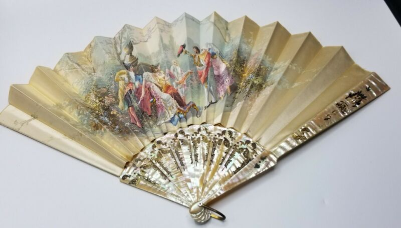 Antique Victorian French Hand Painted Ladies Fan Williamsburg