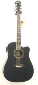 Oscar Schmidt OD312CEB-A Guitar - Black 12 String Acoustic Electric Spruce Top